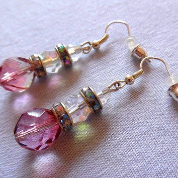 Pink / faceted glass / sparkly / beaded / silver / aurora / iridescent / vintage bead / hooked / dangle / summer / boho / drop earrings