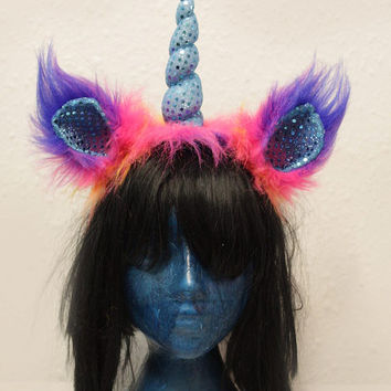 Unicorn Headband with faux fur ears and sparkly horn