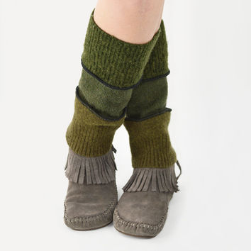 Grunge Leg Warmers in Shades of Green - Moss Olive Green - Upcycled Wool Sweaters