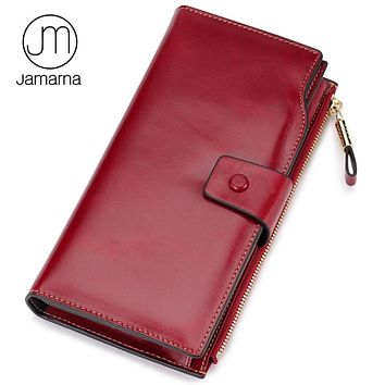 Jamarna Genuine Leather Wallet Female Card ID Holder Long Clutch Coin Women Purse Phone Pocket Wallet For Women Red