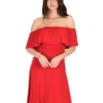 Lyss Loo Wait And See Off The Shoulder Burgundy Midi Dress