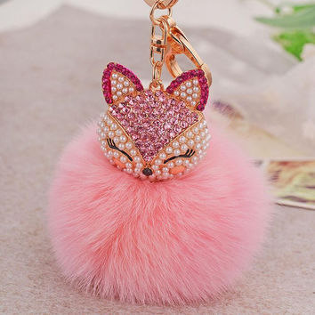 Rhinestone Fox Fur Ball Keychain
