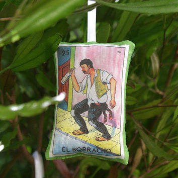 Borracho (Drunk Man) Mexican Loteria Christmas Ornament - Dia De Los Muertos / Day of the Dead