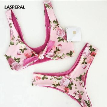 LASPERAL 2017 Bikini Set Women Floral Printed Bowknot Two Piece Swimsuit Sexy Thong Swimwear Beach Bathing Suit Maillot De Bain