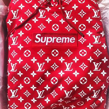 Louis vuitton SUPREME's men's Women fashion hoodie with a printed long-sleeved blouse