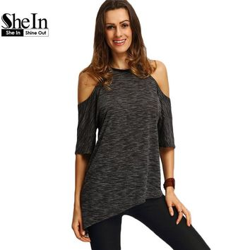 SheIn Summer Woman Fashion Tops Ladies Tee Shirts Casual Half Sleeve Cold Shoulder Black Crew Neck Asymmetric Hem T-shirt
