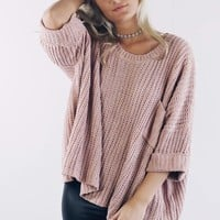 True Beauty Dusty Rose Oversized Chenille Sweater