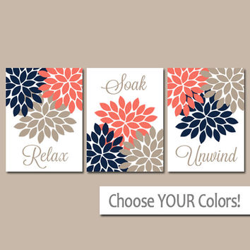 Navy Coral Beige BATHROOM Wall Art- CANVAS or Prints- Bathroom Pictures- Relax Soak Unwind Flower Burst Bathroom Artwork Set of 3 Home Decor