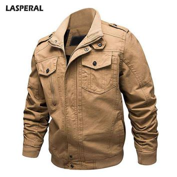 Trendy LASPERAL Large Size Men's Workwear Fashion Jacket Autumn And Winter 2018 New Men's Casual Military Lapel Jacket AT_94_13