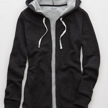 Aerie Zip Front Hoodie , Charcoal Heather