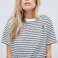 Whistles Tulip Embroidered T-Shirt at asos.com