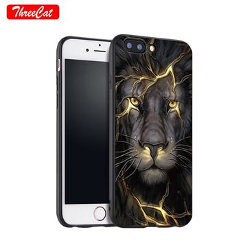 ThreeCat Animal Lion 3D Relief Phone Case for iPhone X 7 8Plus Soft TPU Back Case Cover for iPhone 6 6S Plus