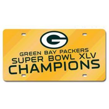 Green Bay Packers Super Bowl 45 Champion Laser Cut Green License Plate
