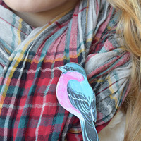Bird wood brooch-Bird jewelry-Wood jewelry-Birds pin-Kids pin-Baby pin-Scarf accessories-Handbag accessory-Shawl accessory-Blue pin