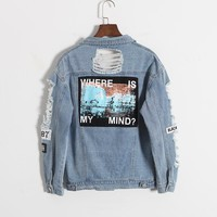 Vintage Fashion Wash Water Distrressed Denim Jacket Embroidery