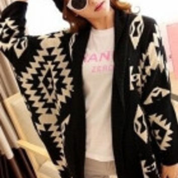Black Oversized Tribal Aztec Print Open Wrap Front Cardigan