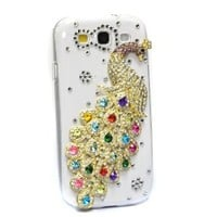 KingMas Bling Diamond Colorful Peacock Crystal Hard Case For Samsung Galaxy S3 SIII i9300