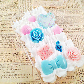 Clear iPhone 4/4S Case - Decoden Hard Phone Case - Sweets Deco Cabochon - Hearts, Stars, Bows, Flowers, Music, Candy - Whipped Cream