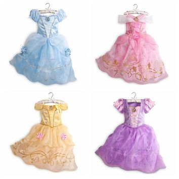Kids Girls Aurora Sandy Rapunzel Belle Princess Party Fancy kid child Dress Up Costume