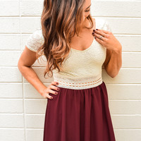 Remember Me Burgundy Contrast Dress