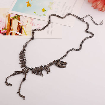 Punk Gothic Jurassic Tyrannosaurus Rex Skeleton Dinosaur Necklace Pendant Gold Silver Matt Black 3 Colors SM6