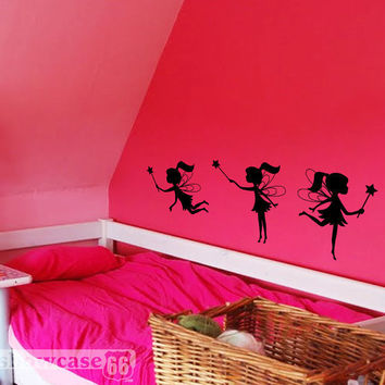 Playful Fairy Trio - Vinyl Wall Art - FREE Shipping - Fun Whimsical Wall Decal