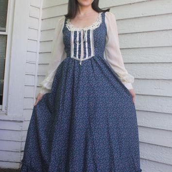 Gunne Sax Dress Blue Floral Prairie Full Length Maxi Corset Vintage 70s 5