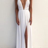 Streetstyle  Casual Sexy Halter Deep V Plunge Cross Maxi Dress