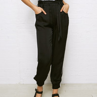 Don't Ask Why Satin Paper Bag Pant, Black