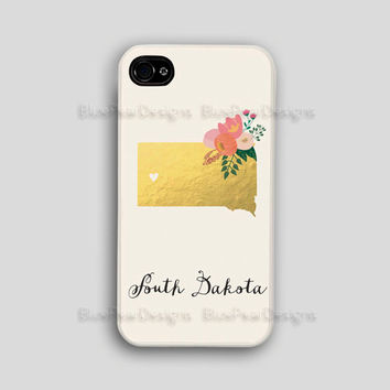 South Dakota Iphone Case Custom State Iphone Case Custom State Iphone 4 Case Custom State Iphone 5 Case Gold Foil Iphone Case Floral Case
