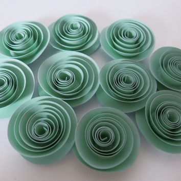 "Mint Green paper flowers set of 10, 1.5"" pastel roses for gender neutral baby shower decorations, wedding decor, bridal party table scatter"
