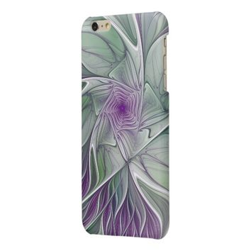 Flower Dream, Abstract Purple Green Fractal Art Glossy iPhone 6 Plus Case