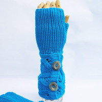 Hanknitted Fingerless Mittens, Cable Mittens, Mittens with Buttons, Long Fingerless Mittens, UK Seller