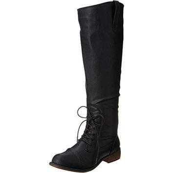 Dirty Laundry Womens Camp Fire Faux Leather Combat Knee-High Boots