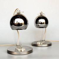 Pair of Mid Century Modern Eyeball Desk Lamps /  Meblo Guzzini / Bedside Table Lamps / Design Classic Lighting / Plexiglass Chrome