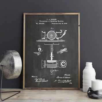Phonograph, Voice Recording, Sound Recording, Recorder, Voice Recorder,Thomas Edison,Vintage Recorder,Record Player,Patent, INSTANT DOWNLOAD