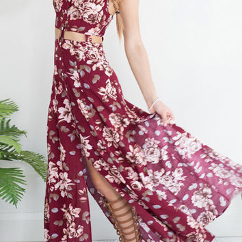 Floral Button Slit Sexy Maxi Strap Dress