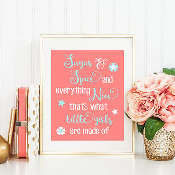 Sugar & and Spice Quote Wall Art, Baby Girl Nursery Art, Coral Aqua Nursery Decor, Girl Bedroom Pictures, Girl Quote CANVAS or Print 1 One
