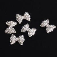 5Pcs 3D Silver Alloy Rhinestones Bow Tie Nail Art Slices Glitters from Y2B