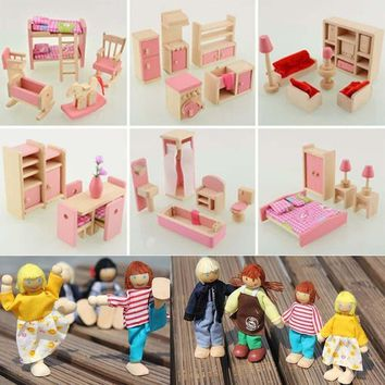 Wooden Furniture Dolls House Miniature 6 Room Type Learn Toys for Kids Children
