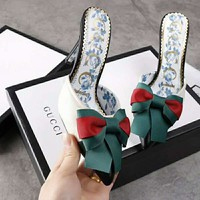 GUCCI Newest Fashion Princess Bow High Heels Sandals Shoes White