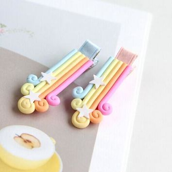 New nice little kids hair clips Boutique Rainbow Hairpin With  accessories  girl hair ornaments head wearing CT-39