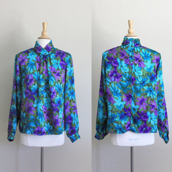 1980s Green Polyester Silk Floral Blouse // Large