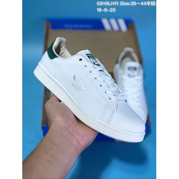 HCXX A352 Adidas Stan Smith Canvas Embroidered LOGO Low Top Skate Shoes White Green