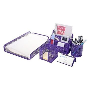 Metal Mesh Office Desktop Supplies Organizer Set of 5pcs-Document Tray, Mail Sorter, Pencil Cup, Memo Holder and Business Card H