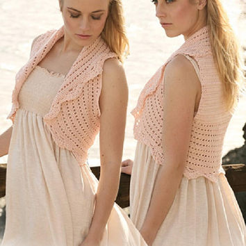 Wedding bolero bridal bolero Pink bolero peach bolero Summer wedding Summer bolero crochet bolero crochet shrug sleeveless pink Drop Lilith