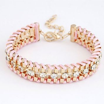 Hand-Woven Rhinestone Chain Bracelets & Bangle