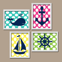Nautical Boy Girl Wall Art Nursery Canvas Bathroom Bedroom Artwork Whale Navy Blue Pink Yellow Sailboat Anchor Wheel Ocean Set of 4 Prints