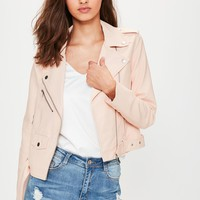 Missguided - Nude Ultimate Faux Leather Biker Jacket