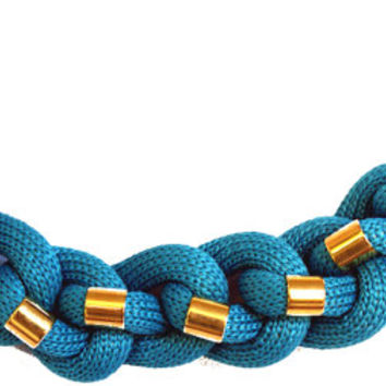Blue cord necklace, rope, gold color elements, braided necklace, jewelry